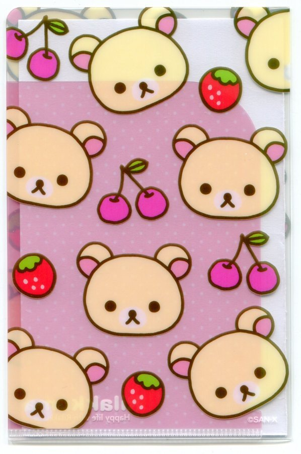 Image 2 of San-X Rilakkuma Relax Bear 2 Pockets Mini Plastic File Folder #2 (FF1163)