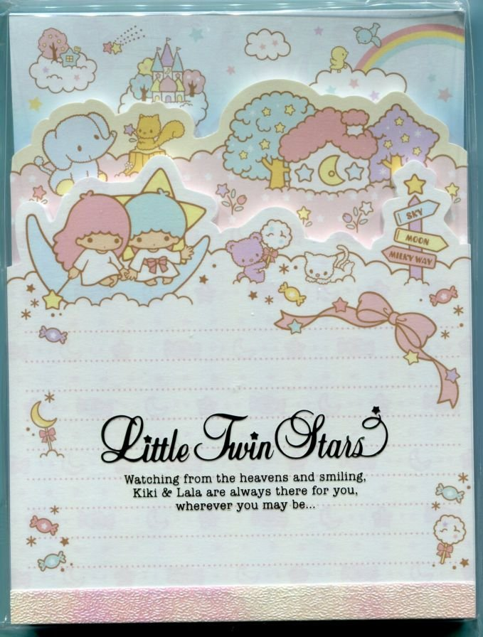Image 0 of Sanrio Little Twin Stars 3 Design Die Cut Memo Pad #1 (M1307)