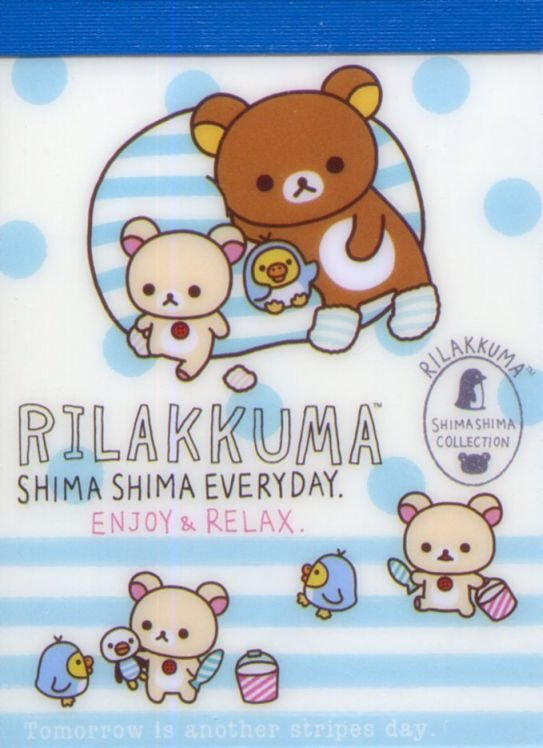 Image 0 of San-X Rilakkuma Relax Bear 2 Design Mini Memo Pad #58 (Stripes Everyday) (M1324)