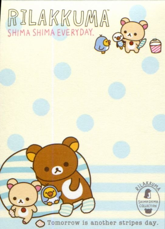 Image 1 of San-X Rilakkuma Relax Bear 2 Design Mini Memo Pad #58 (Stripes Everyday) (M1324)