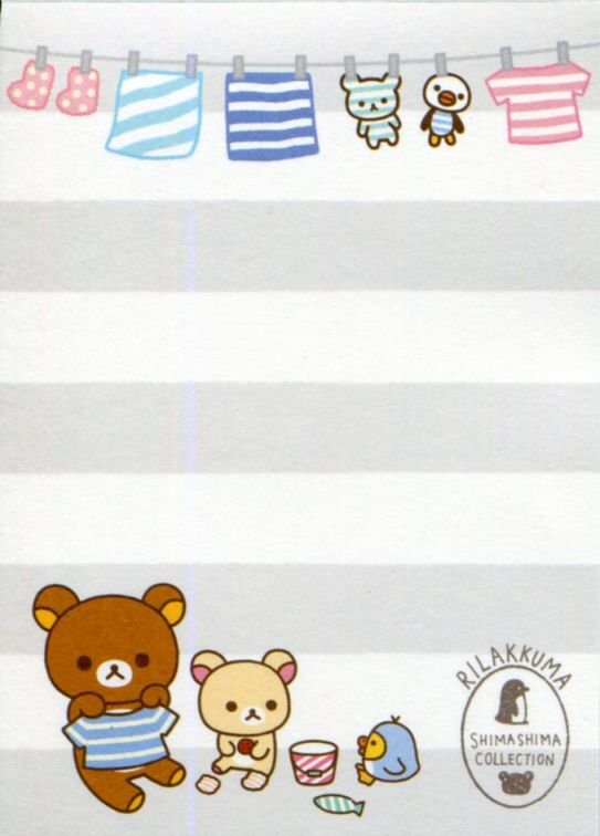 Image 2 of San-X Rilakkuma Relax Bear 2 Design Mini Memo Pad #58 (Stripes Everyday) (M1324)