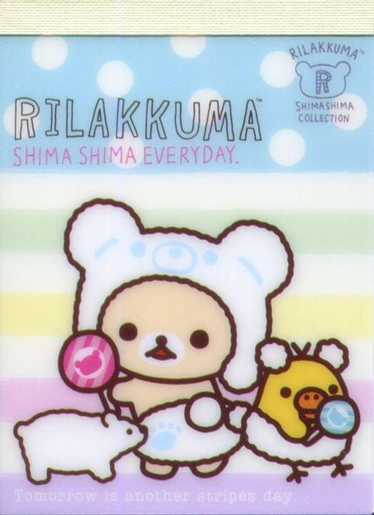 Image 0 of San-X Rilakkuma Relax Bear 2 Design Mini Memo Pad #59 (Stripes Everyday) (M1325)