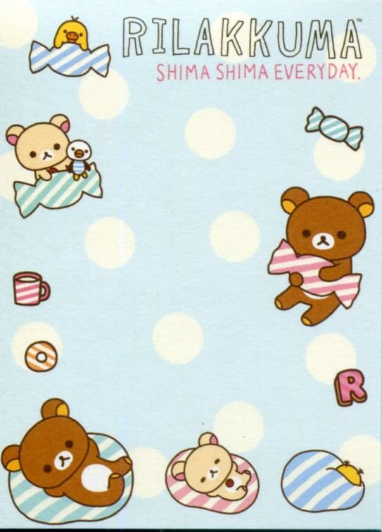 Image 2 of San-X Rilakkuma Relax Bear 2 Design Mini Memo Pad #59 (Stripes Everyday) (M1325)