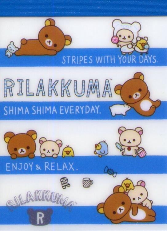 Image 0 of San-X Rilakkuma Relax Bear 2 Design Mini Memo Pad #60 (Stripes Everyday) (M1326)