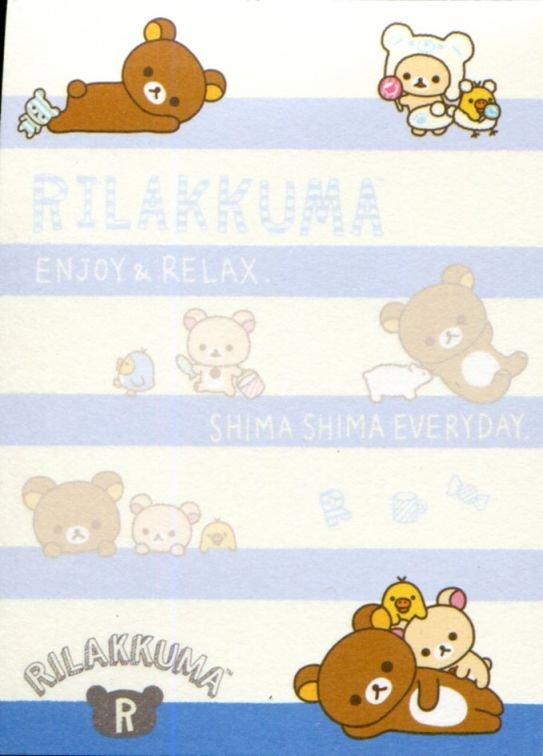 Image 1 of San-X Rilakkuma Relax Bear 2 Design Mini Memo Pad #60 (Stripes Everyday) (M1326)