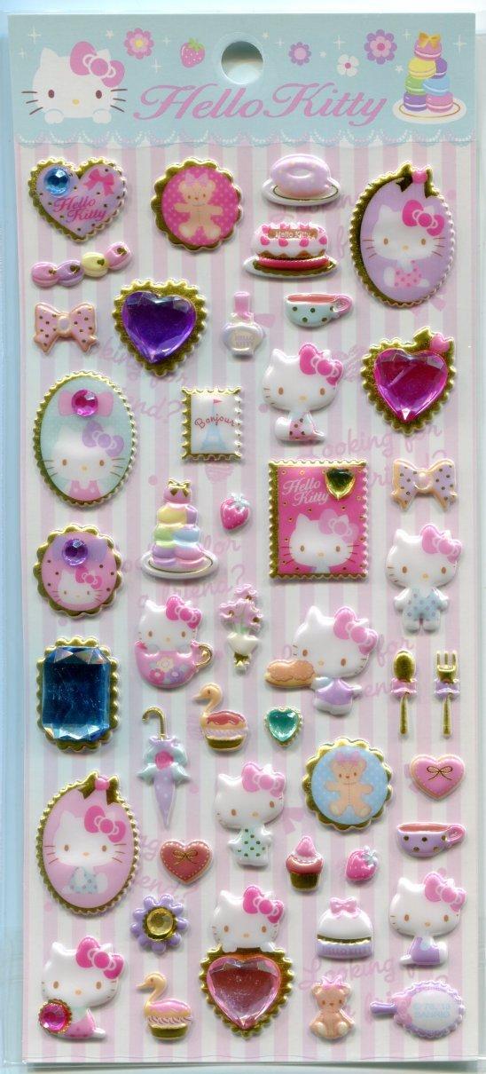 Image 0 of Sanrio Hello Kitty Stone with Frame Sponge Sticker Sheet #1 (I1455)
