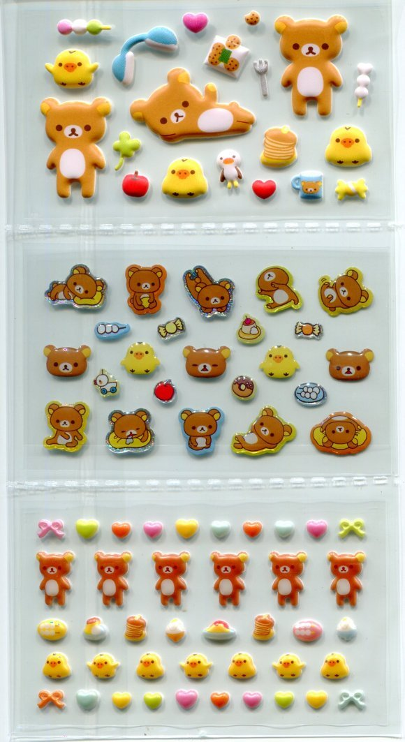 Image 1 of San-X Rilakkuma Relax Bear Shiny Sponge 2 Design Sticker Sheet Set #1 (I1463)