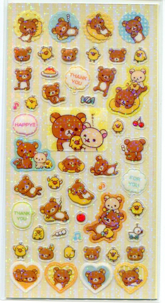 Image 2 of San-X Rilakkuma Relax Bear Shiny Sponge 2 Design Sticker Sheet Set #1 (I1463)