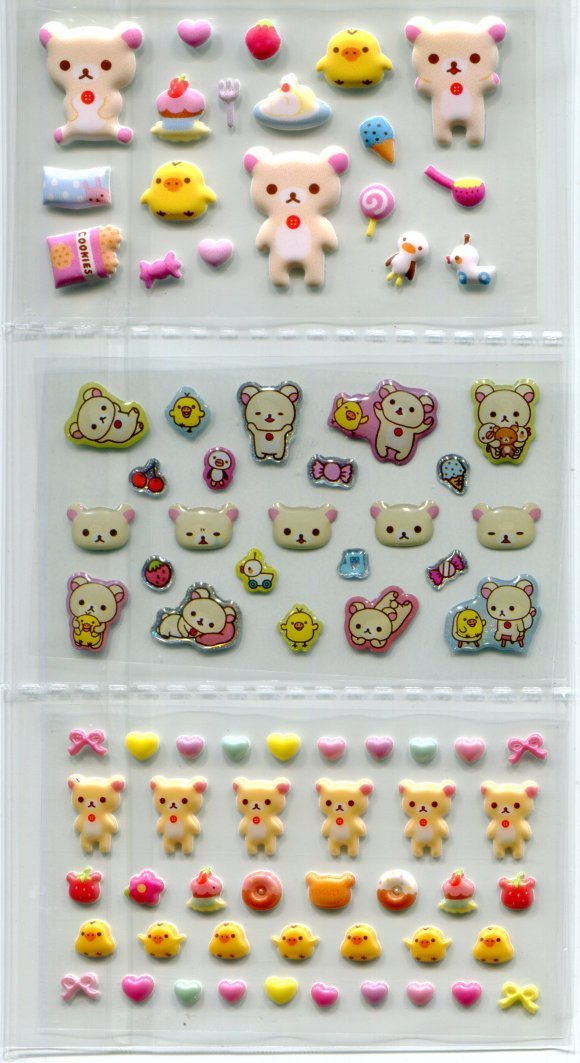 Image 1 of San-X Rilakkuma Relax Bear Shiny Sponge 2 Design Sticker Sheet Set #2 (I1464)