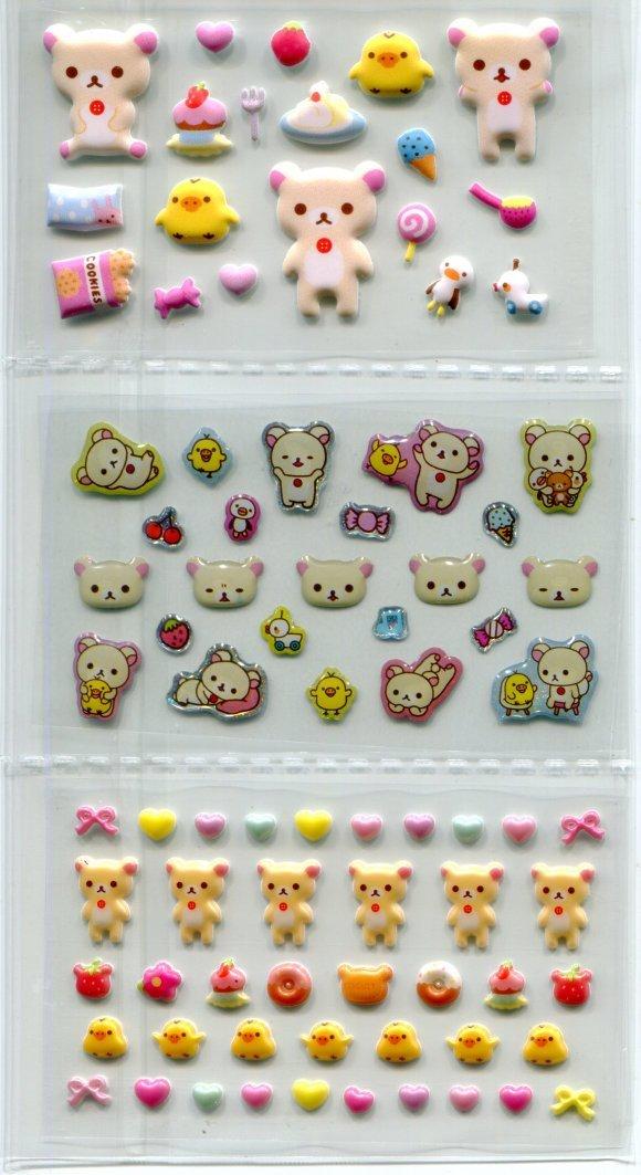 Image 1 of San-X Rilakkuma Relax Bear Shiny Sponge 2 Design Sticker Sheet Set #2 (I1464)