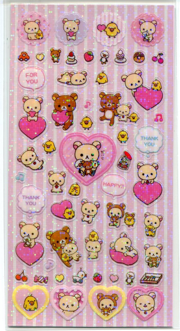 Image 2 of San-X Rilakkuma Relax Bear Shiny Sponge 2 Design Sticker Sheet Set #2 (I1464)