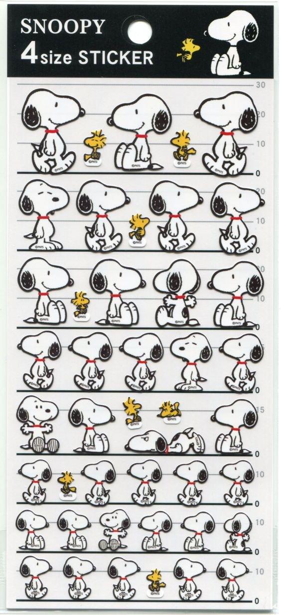 Image 0 of Peanuts Snoopy 4 Size Sticker Sheet #3 (I1535)