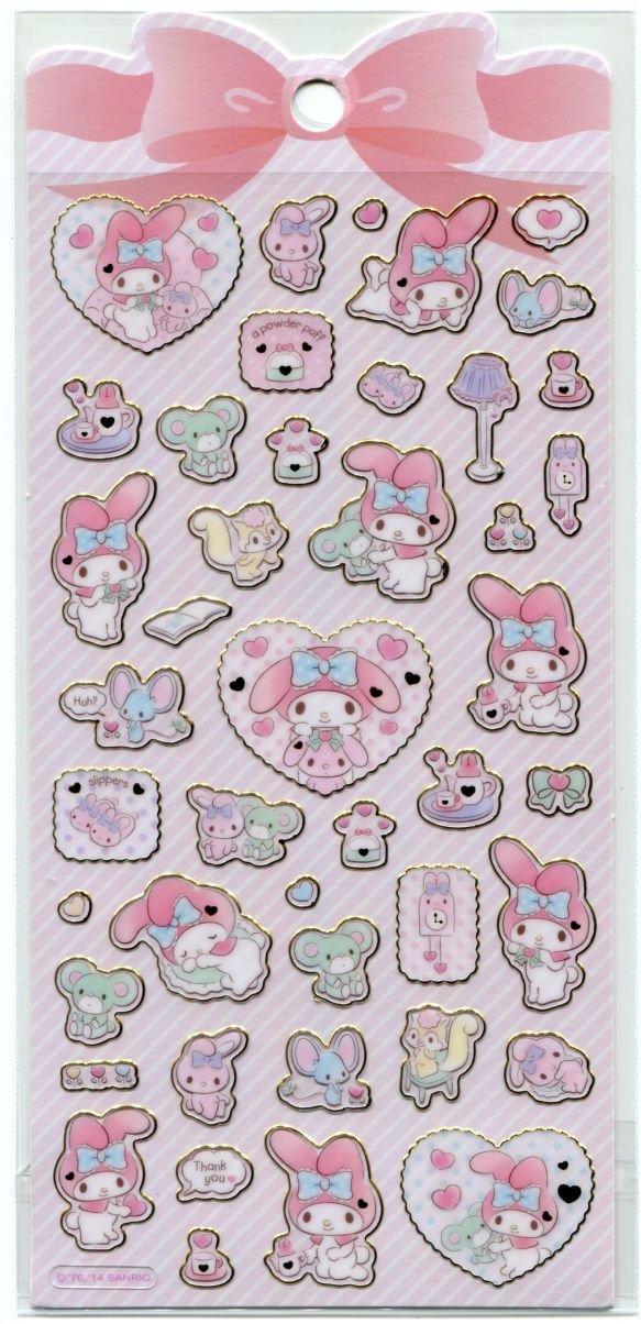 Image 0 of Sanrio My Melody Shiny Frame Sticker Sheet #1 (I1538)