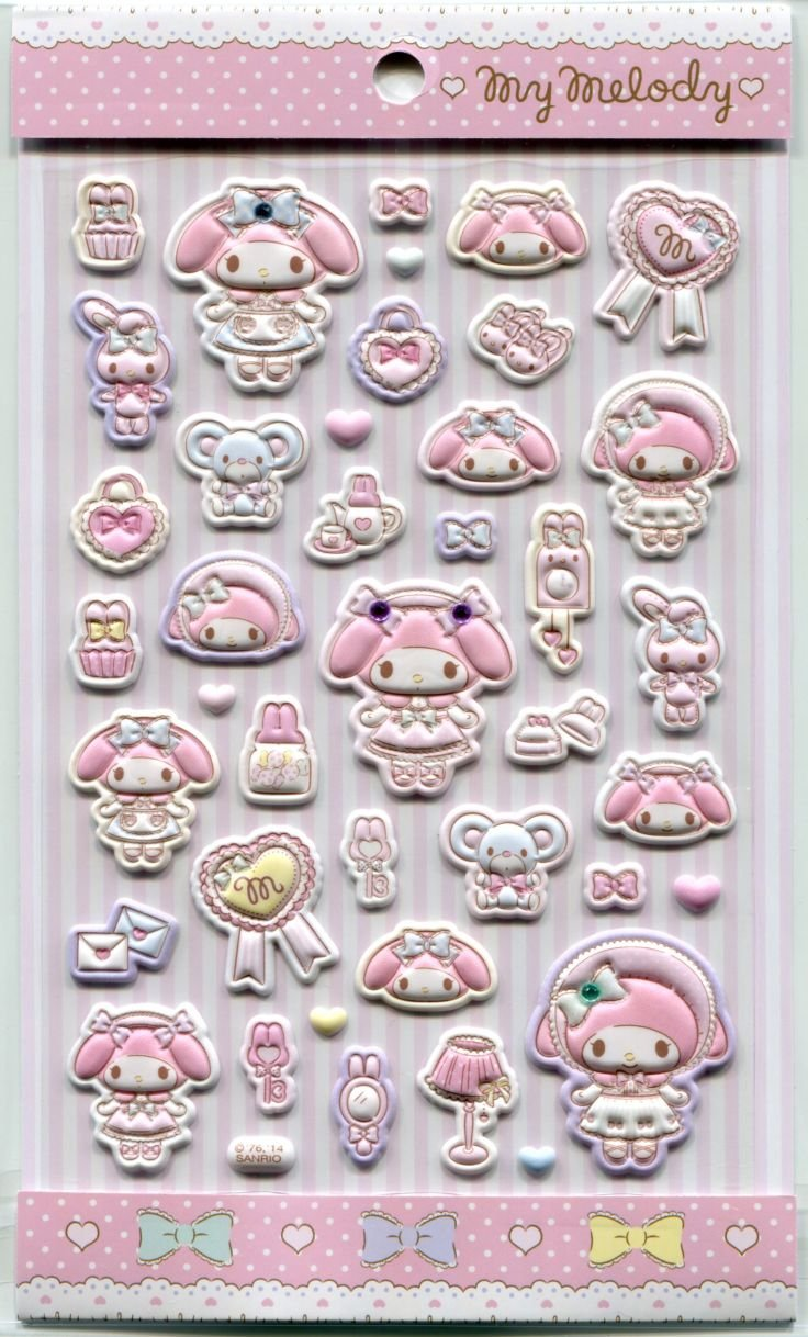 Image 0 of Sanrio My Melody Dressed Up Sponge Sticker Sheet #1 (I1551)