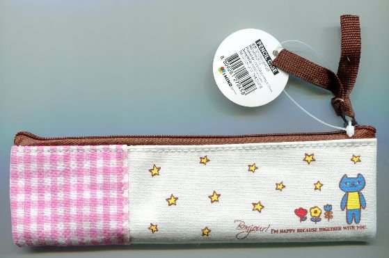 Image 1 of Korea IMIND Checker Pencil Pouch Bag #2 (Pink) (AB0038)
