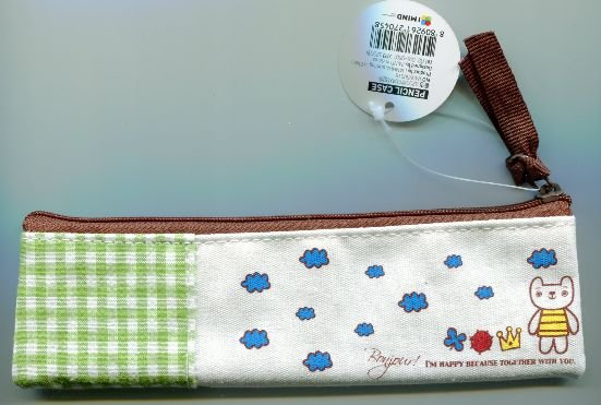 Image 1 of Korea IMIND Checker Pencil Pouch Bag #3 (Green) (AB0039)