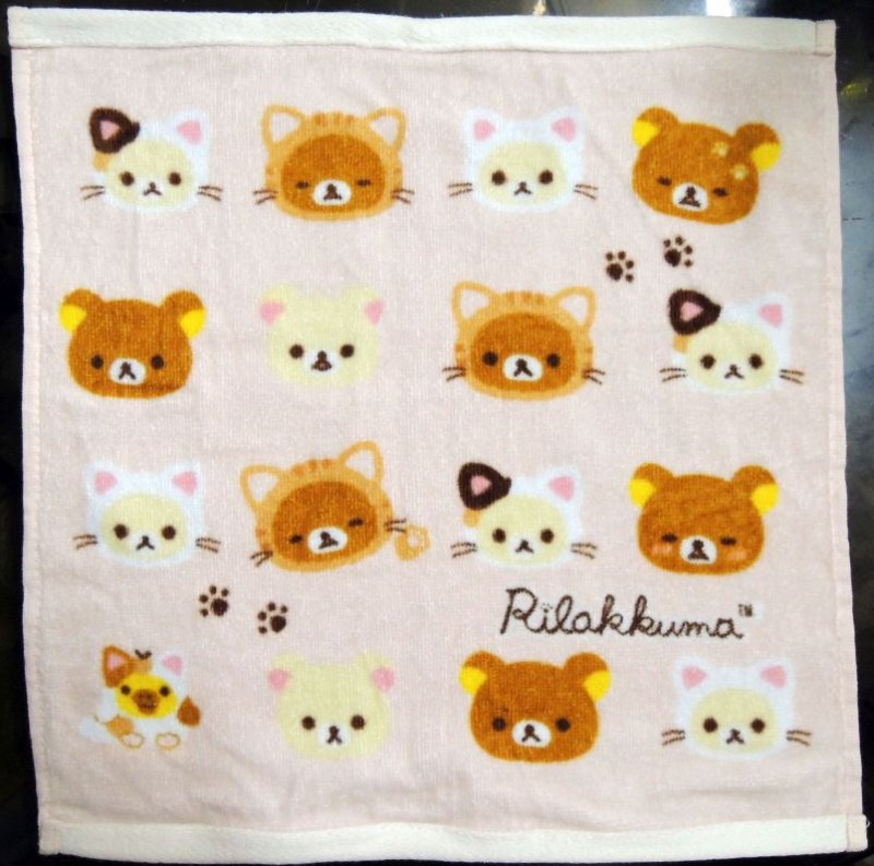 Image 0 of San-X Rilakkuma Relax Bear Hand Towel Wash Cloth #12 (T0939)