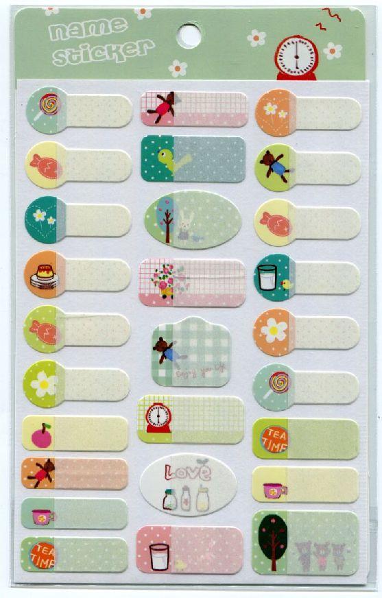 Animal in Garden Name Sticker Sheet #4 (I0689)