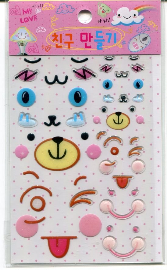 Image 0 of Korea Cute Face Facial Expression Deco Sticker Sheet Part 2 #02 (I0701)