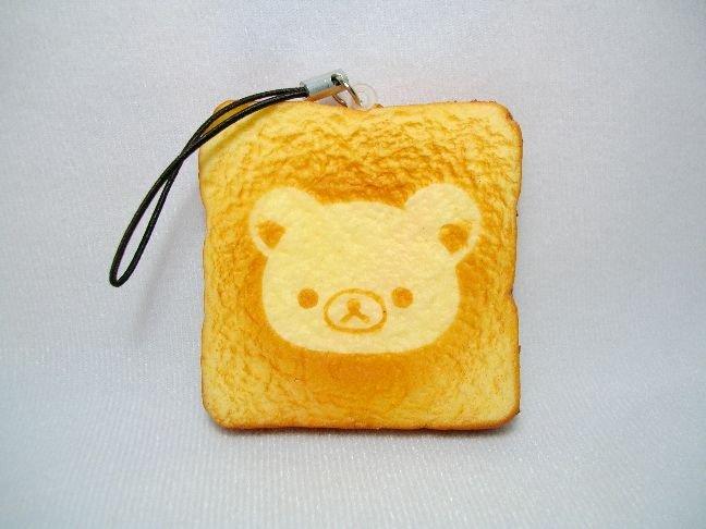 Image 0 of San-X Rilakkuma Relax Bear Bread Soft Plastic Mascot Phone Strap #1 (E1324)