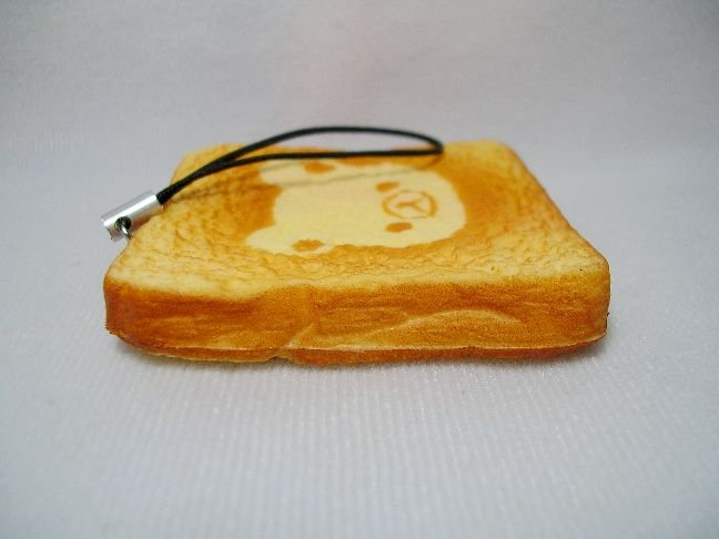 Image 2 of San-X Rilakkuma Relax Bear Bread Soft Plastic Mascot Phone Strap #1 (E1324)