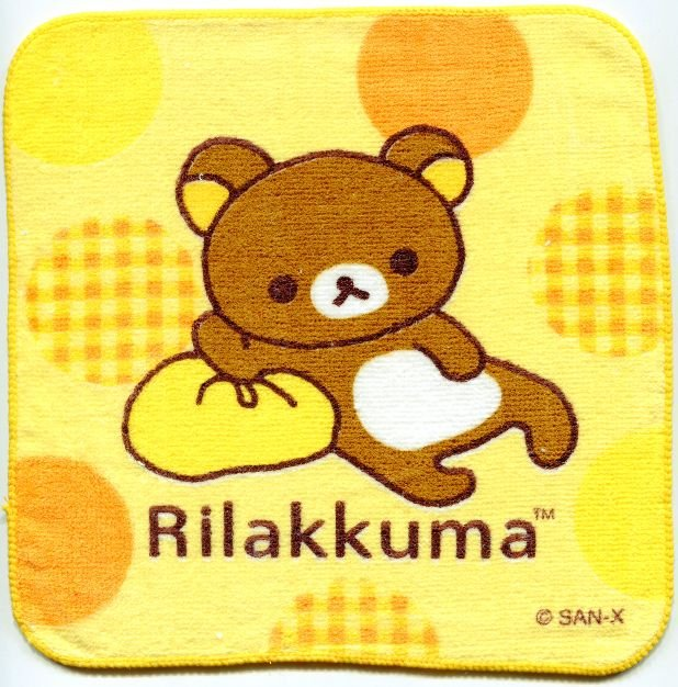 Image 0 of San-X Rilakkuma Relax Bear Face Towel Wash Cloth #50 (T0642)