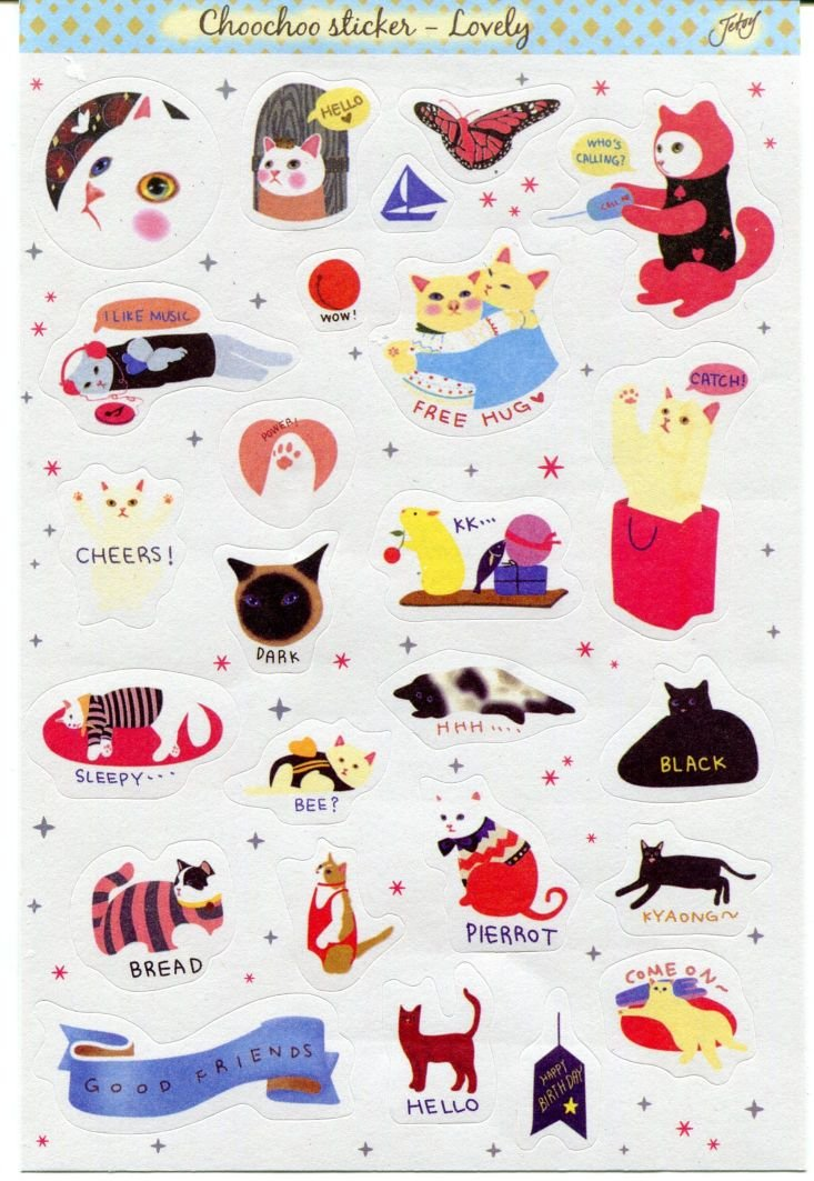 Image 0 of Korea Jetoy Choo Choo Cat Paper Sticker Sheet #3 (I0745)