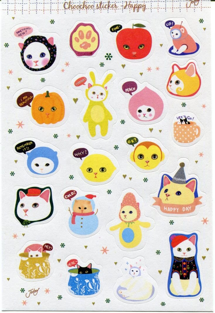 Image 0 of Korea Jetoy Choo Choo Cat Paper Sticker Sheet #4 (I0746)