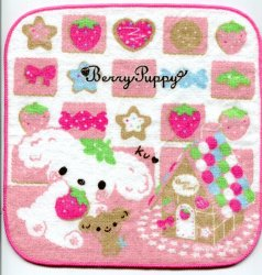 Thumbnail of San-X Berry Puppy Dog Face Towel Wash Cloth #1 (T0760)