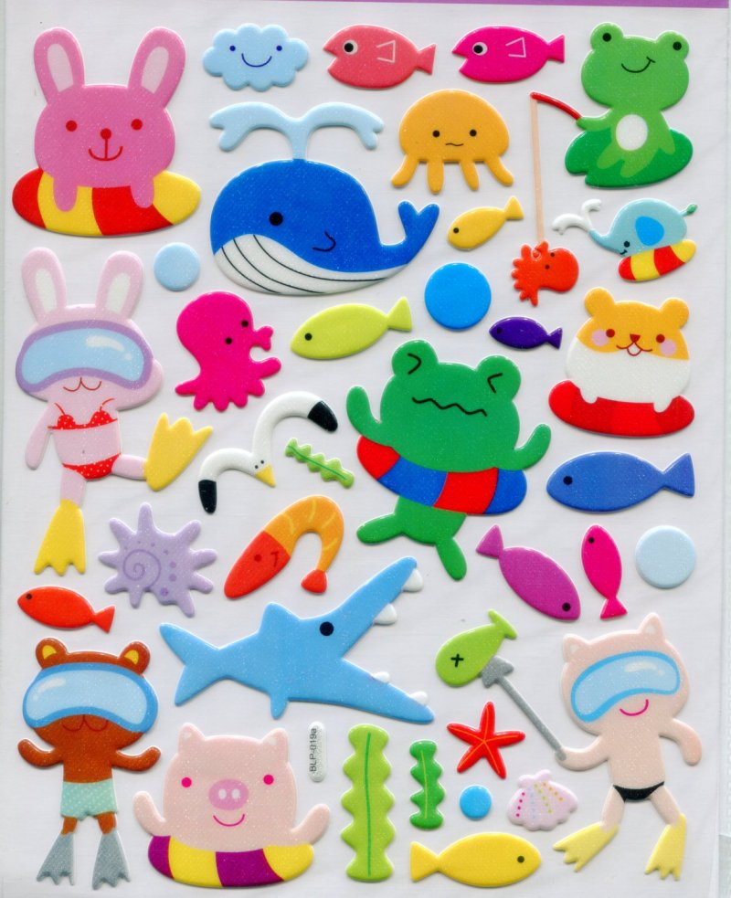 Image 0 of Animal Swimming Large Sponge Sticker Sheet #1 (I0835)