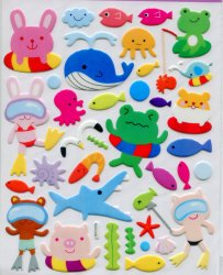 Thumbnail of Animal Swimming Large Sponge Sticker Sheet #1 (I0835)