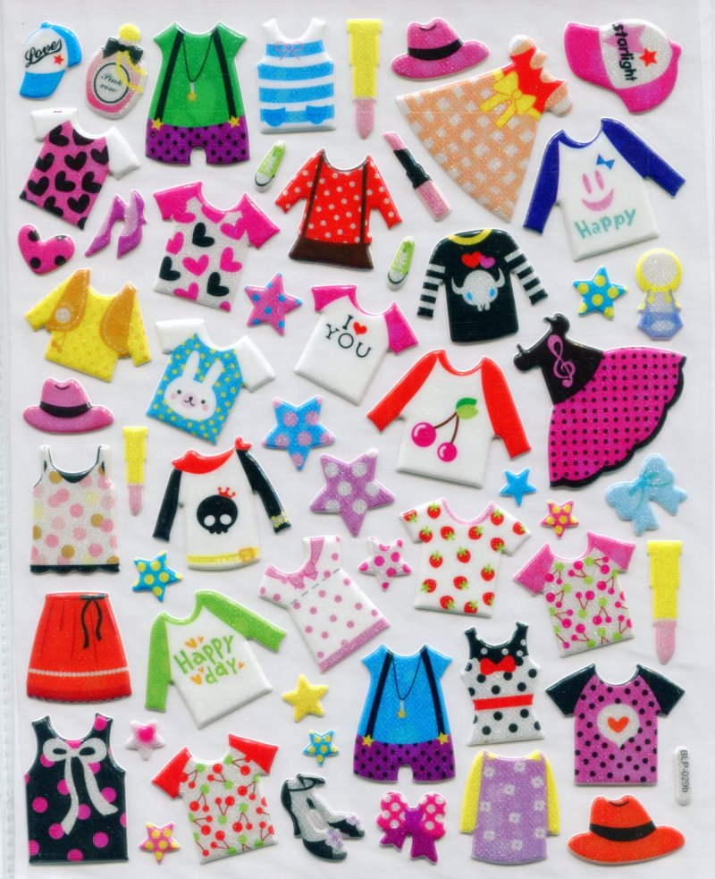 Image 0 of Clothes Large Sponge Sticker Sheet #1 (I0837)
