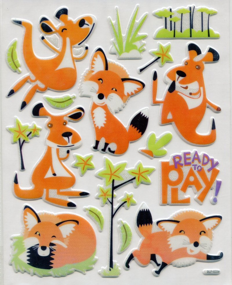 Image 0 of Fox Large Sponge Sticker Sheet #1 (I0838)