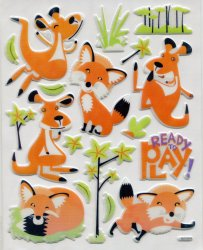 Thumbnail of Fox Large Sponge Sticker Sheet #1 (I0838)