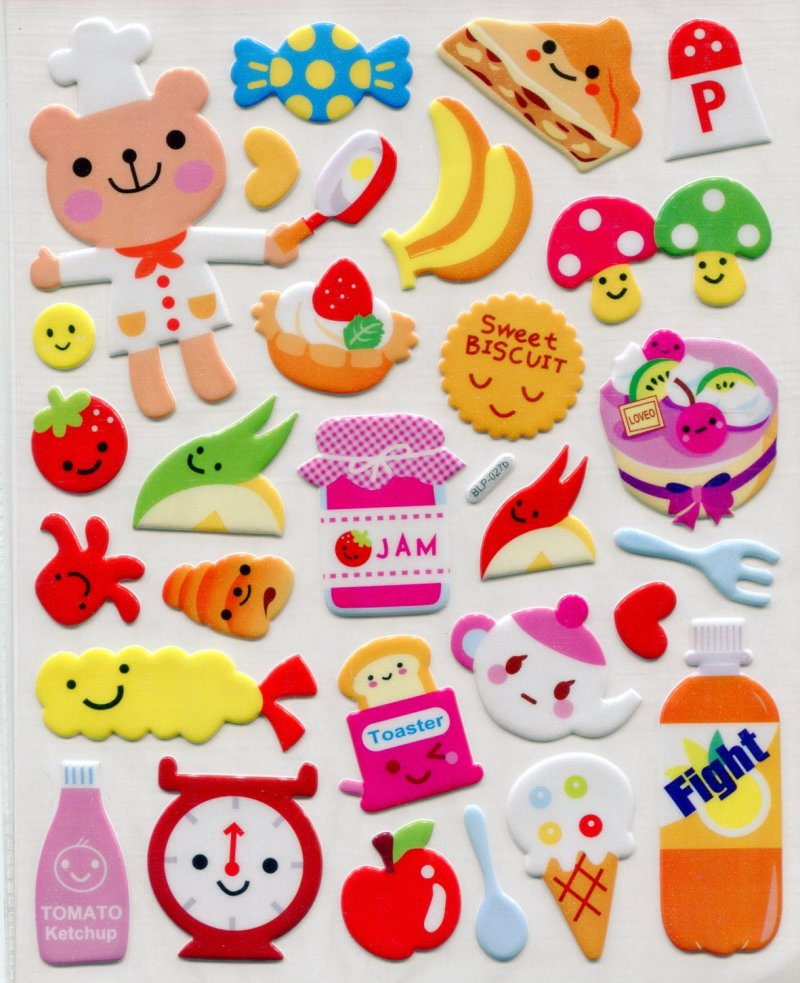 Image 0 of Cooking Food Large Sponge Sticker Sheet #1 (I0839)