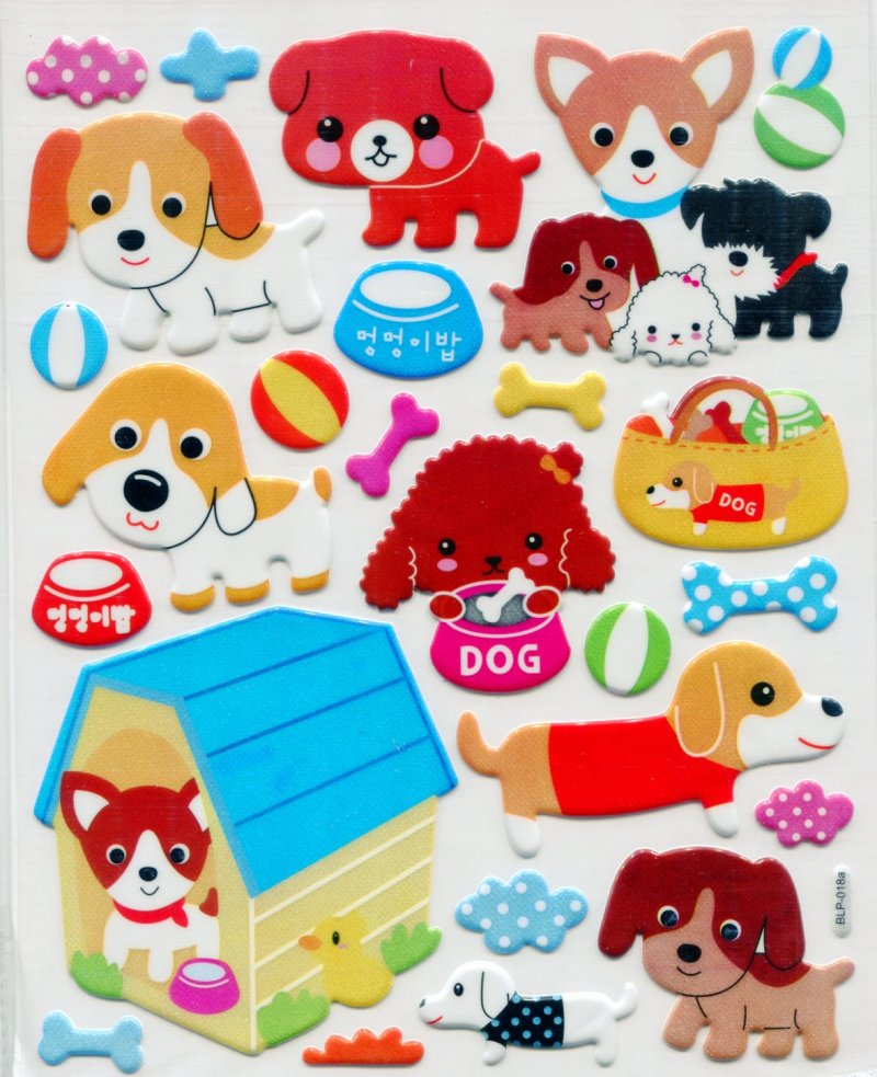 Image 0 of Dog Large Sponge Sticker Sheet #1 (I0840)