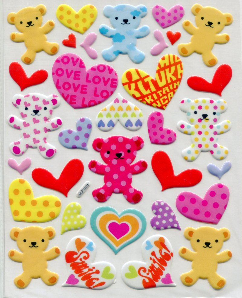 Image 0 of Heart Bear Large Sponge Sticker Sheet #1 (I0843)