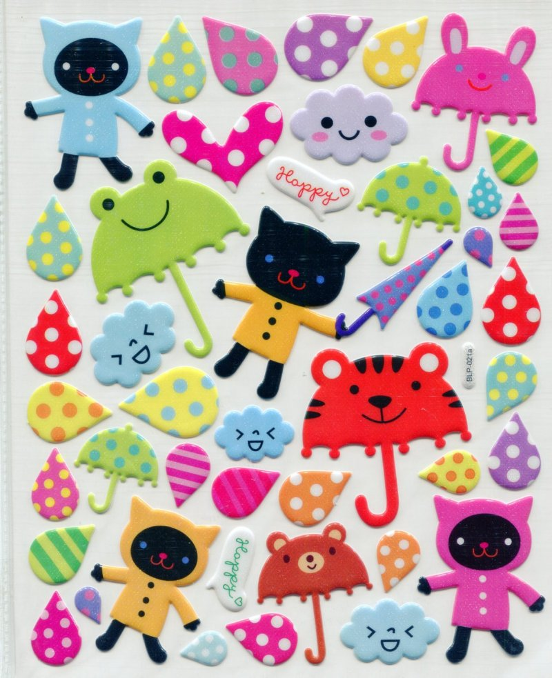 Image 0 of Cat Umbrella Rain Large Sponge Sticker Sheet #1 (I0845)