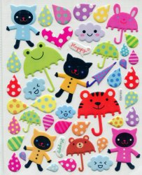 Thumbnail of Cat Umbrella Rain Large Sponge Sticker Sheet #1 (I0845)