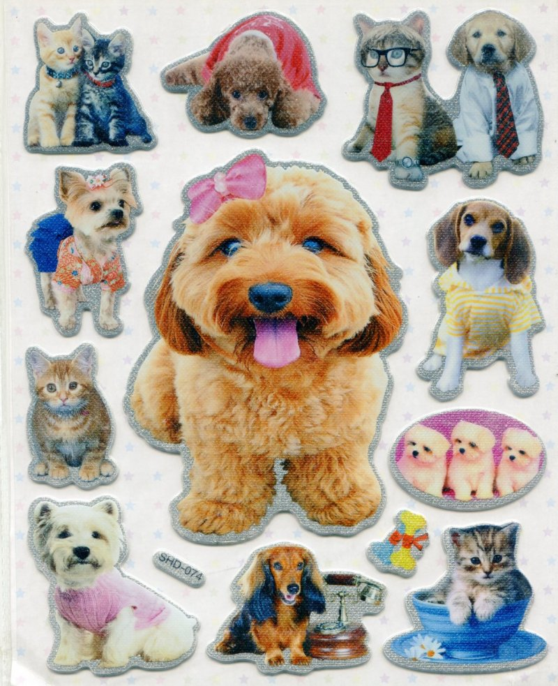 Image 0 of Dog Cat Large Sponge Sticker Sheet #1 (I0846)