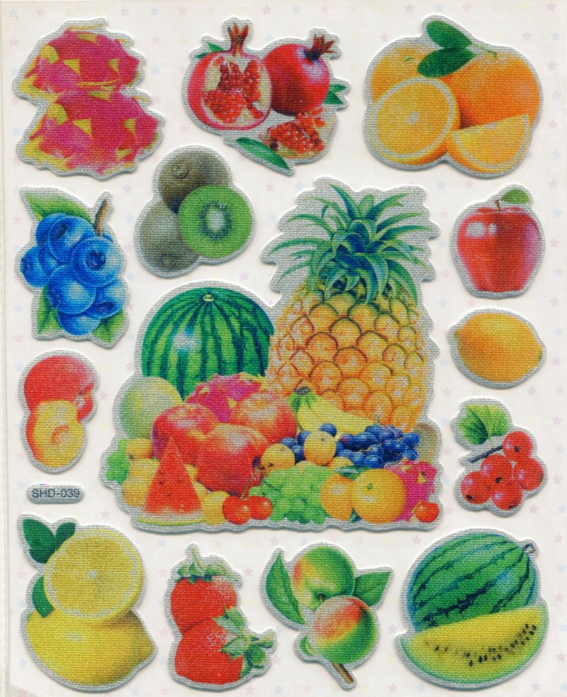 Image 0 of Fruit Large Sponge Sticker Sheet #1 (I0847)