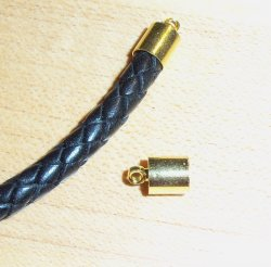 Thumbnail of 5mm Bolo Cord/Kumihimo Caps, Goldtone, 1 pair