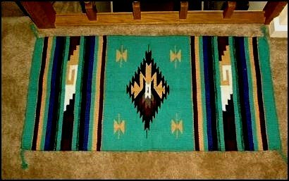 Image 0 of Southwestern Decor Log Cabin Rug Teal-Burgundy-Tan