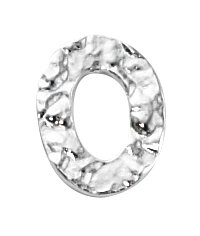 Thumbnail of SSCLRing14x11 Sterling silver hammered oval closed ring - made in Italy