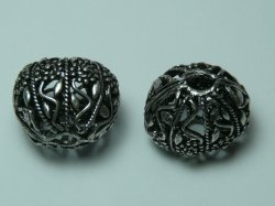 Thumbnail of GFine02 - Glinter™-Silver Substitute almost round bead w/flowers