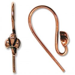 Thumbnail of COPEar04 - Solid copper fish hook earring with  fleur di lis design