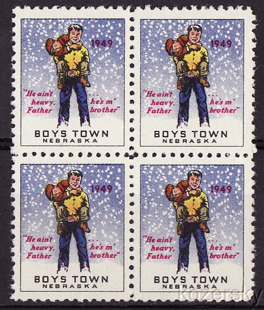Boys Town 22.2A, 1949 Boys Town Charity Seals, Type 1, blk/4