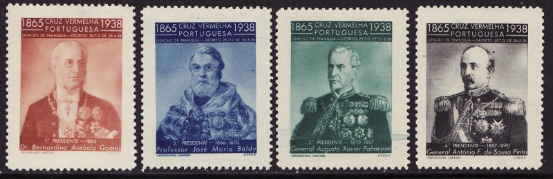 Portugal 19.1-.4, 1939 Portugal Red Cross Portrait Charity Seals