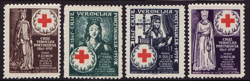 Portugal 20.1-.4, 1940 Portugal Red Cross Portrait Charity Seals