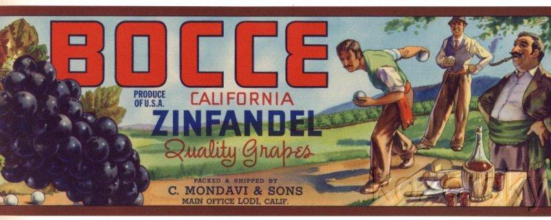 Bocce Brand Grape Crate Label